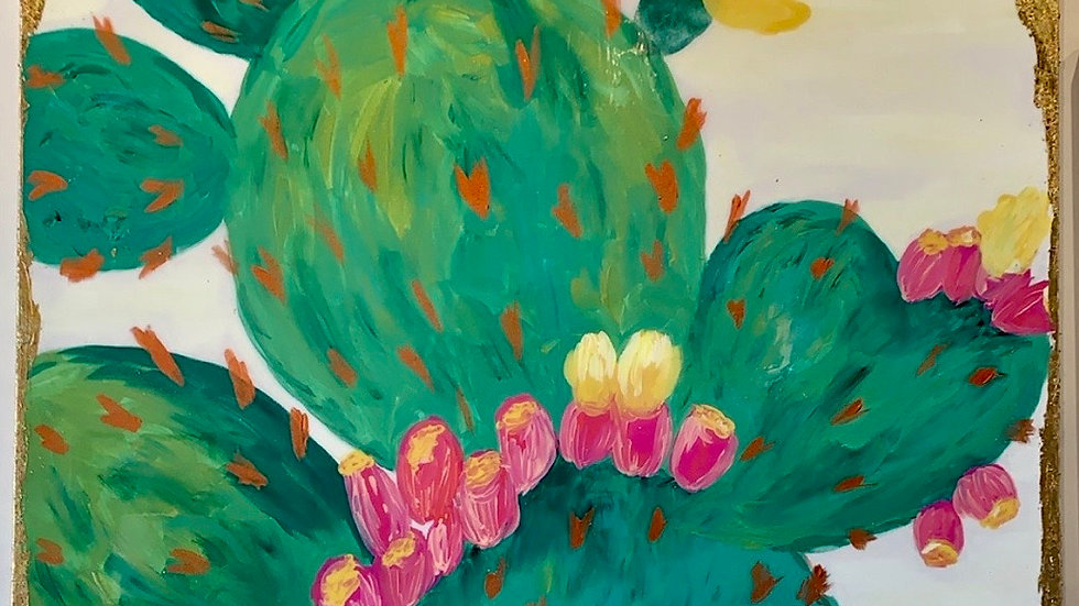 "48"" x 48"" gold leaf, acrylic and resin art cactus by Jeanne"