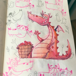 """Boceto de """"El dragón color frambuesa"""