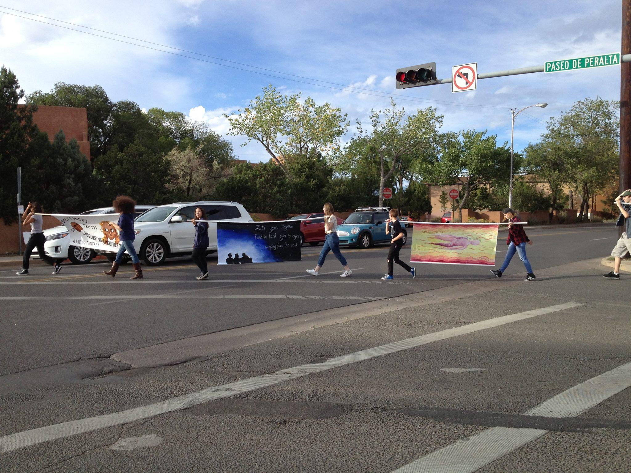 NMSA students w/ Haiga banners