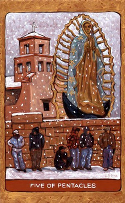 Tarot de St. Croix five of pentacles