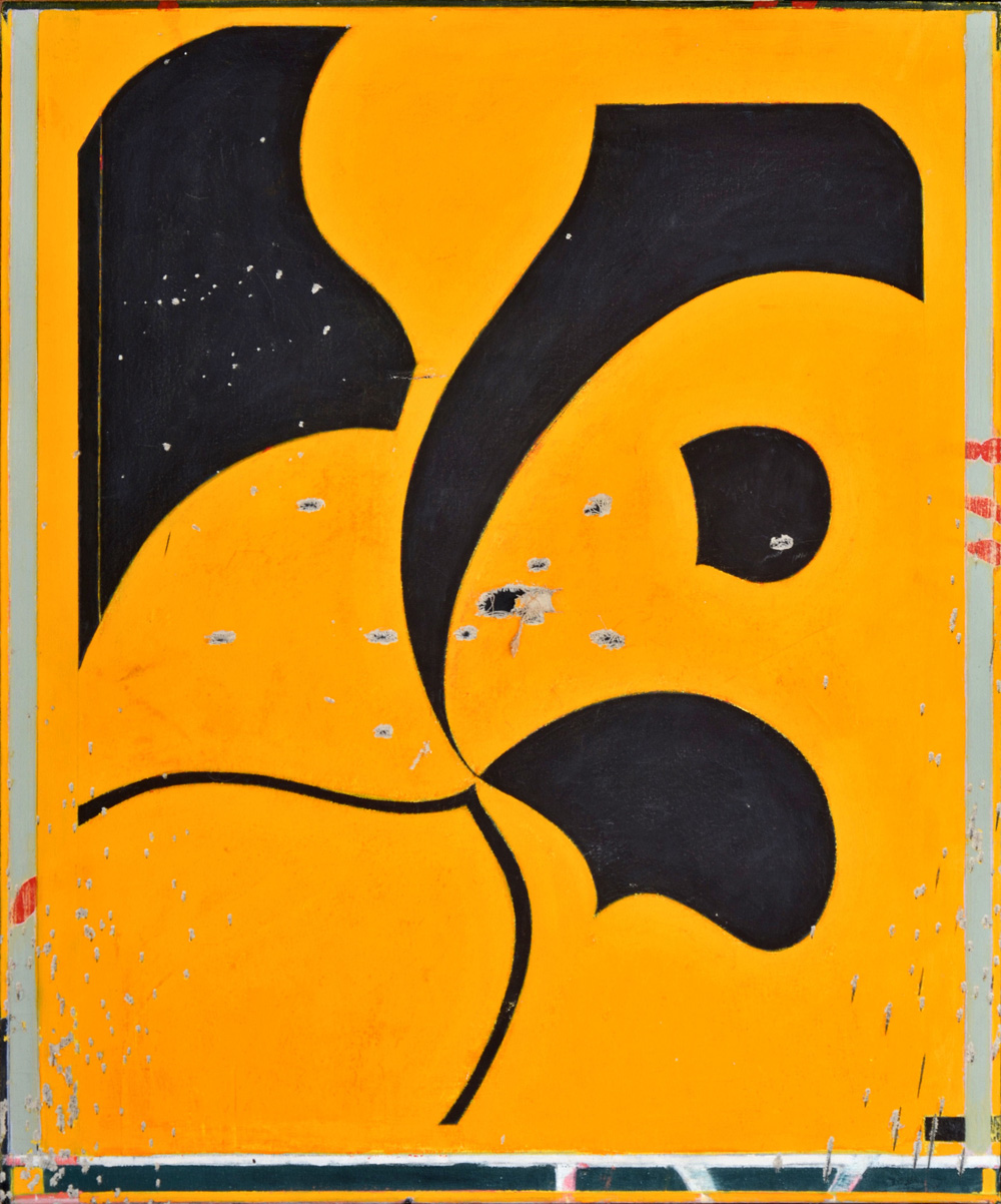 Michael Bisbee - Untitled (Shot Painting) 2011-14 - 35.25 X 30 Inches.jpg