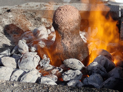 a luted crucible heating in the fire