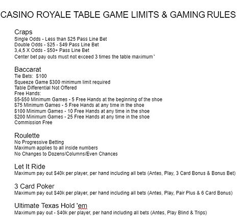 2020 Royal Caribbean Table Limit and Gui