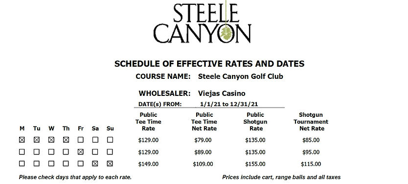 2021 Viejas Steele Canyon Golf Rates pg