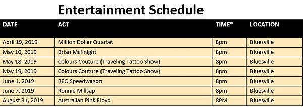 2019 Harrahs tunica Ent Schedule Apr May