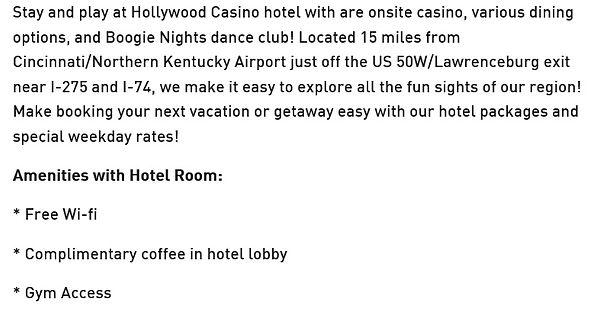 2020 Hollywood lawernceburg Hotel descri
