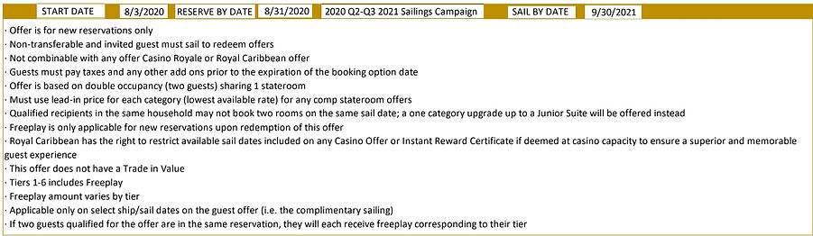 2020 Royal Q2-Q3 2021 Sailings Campaign