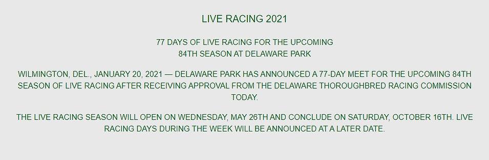2021 Delaware Park racing Schedule April