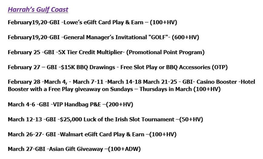 2021 Harrah's Gulf Coast events as of Fe