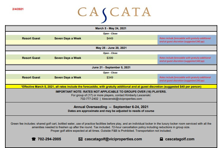 2021 Caesars Cascata Golf Rates as of Fe