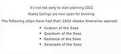 2022 Alaska Sailings open as of Nov 10th