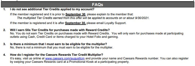 2021 Caesars Rewards August 5X Credit Mu