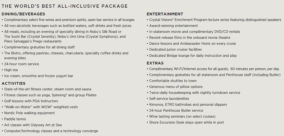 2018 Crystal Cruise All Inclusive Packag