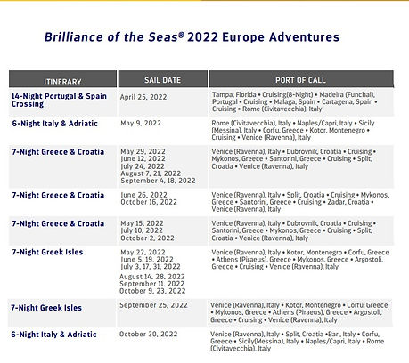 2022 Royal Europe Brillance of the Seas.