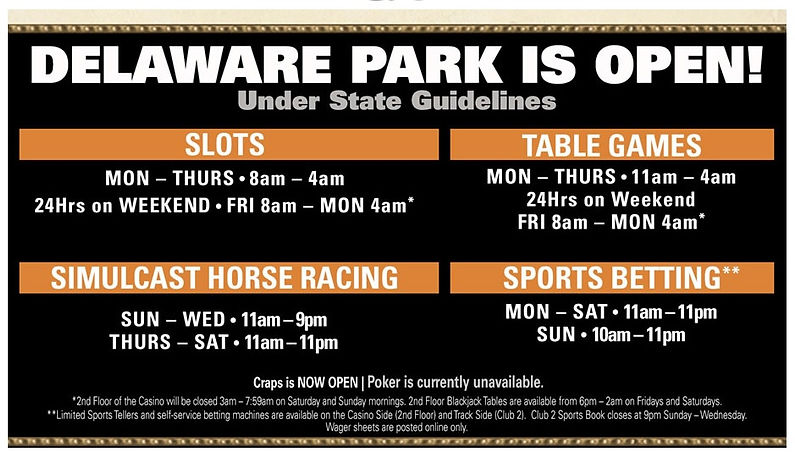 2021 Delaware Park Hours of Operations A