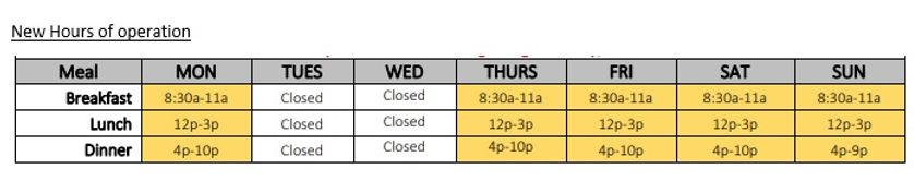 2021 Beau Buffet Hours as of June 11th.j