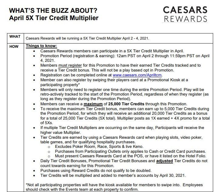 2021 Caesars 5x Tier Mulitoilier Apr 2nd