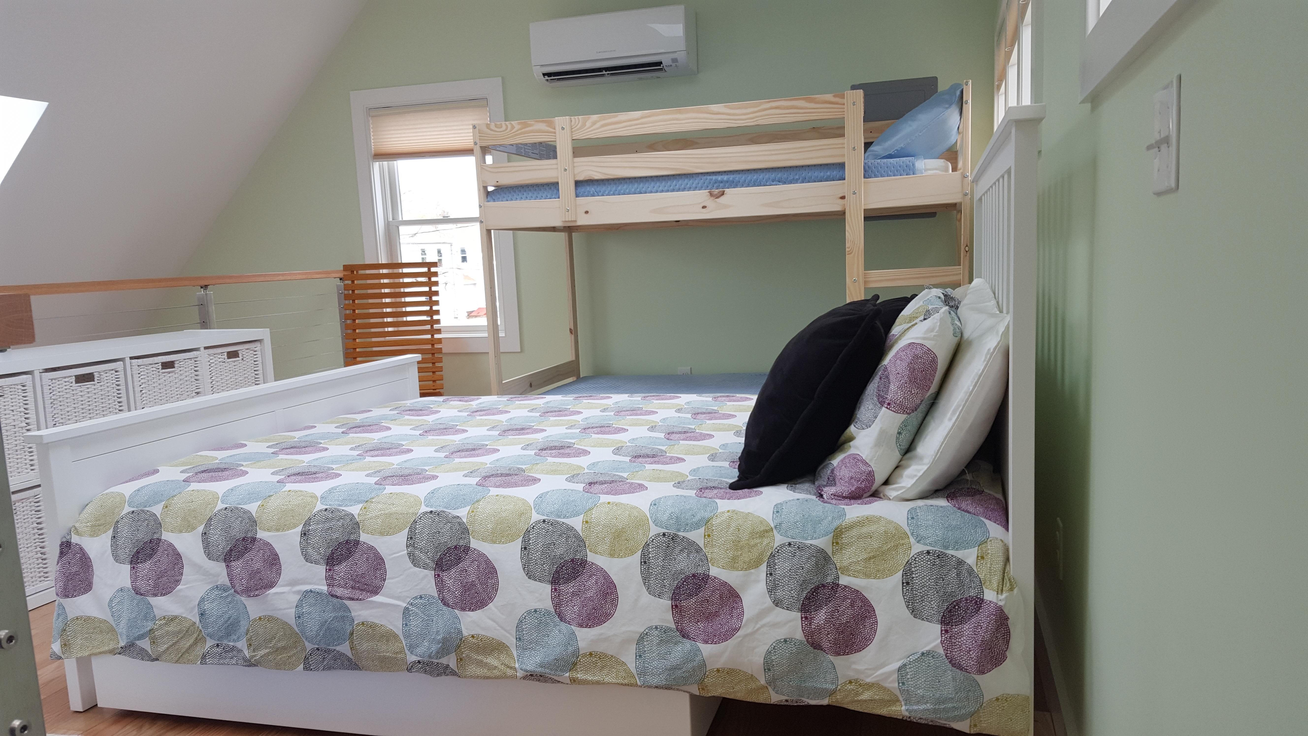 Loft Queen Bed and Bunk Beds