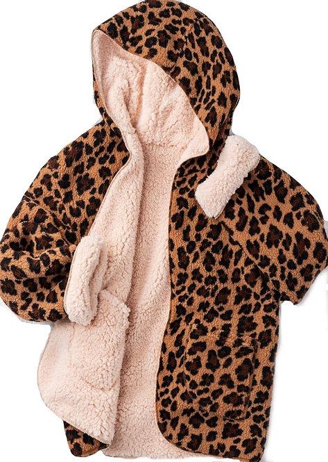 Reversible Cheetah Sherpa Coat