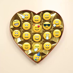 Enjoy a box of emoticons, especially because none of them are filled with fruit crème