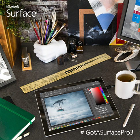 The Surface Pro 3 pen and Adobe Creative Suite help you turn inspiration into works of art. #IWantASurfacePro3