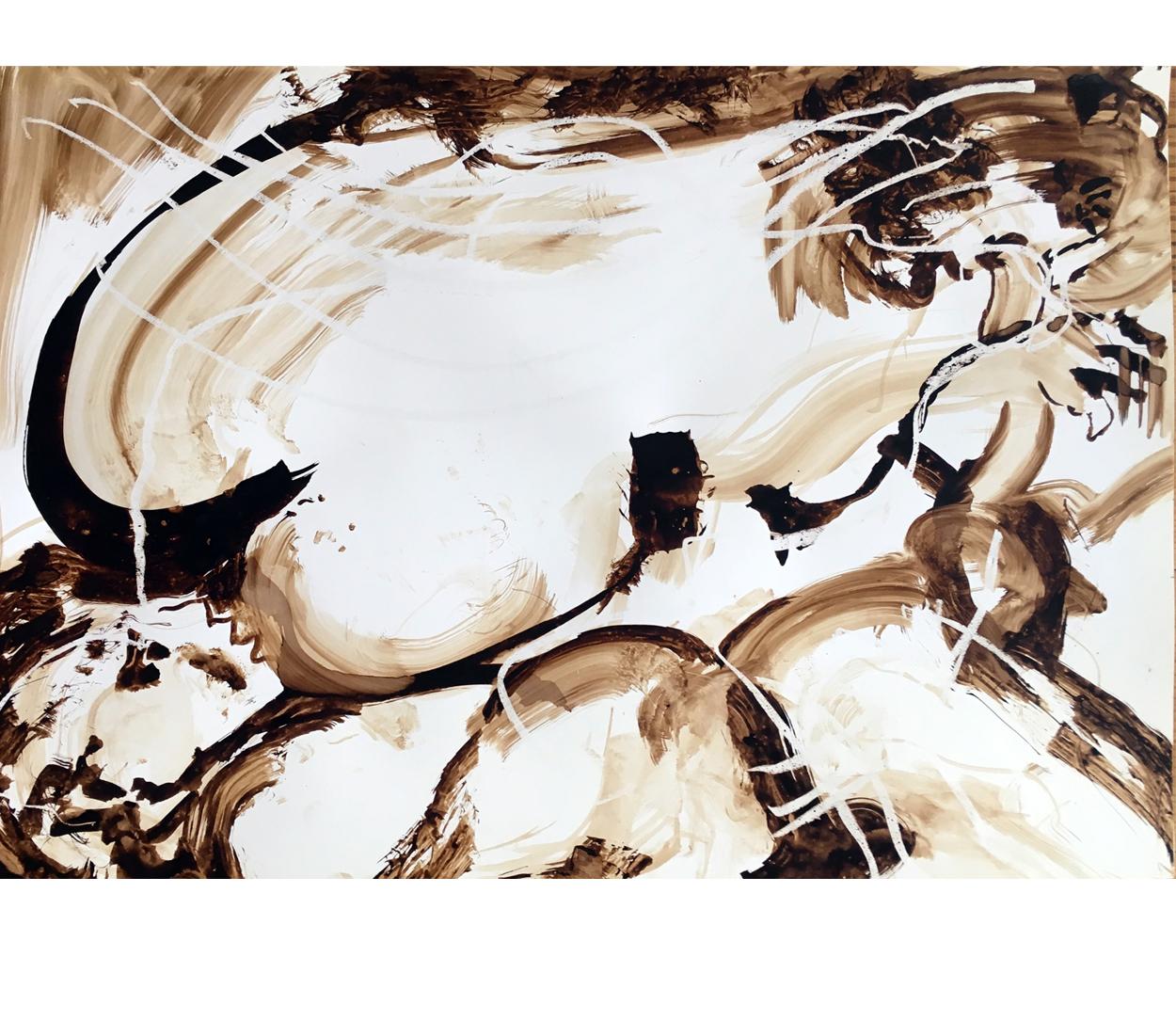 brou de noix/Canson 5, 64x45 cm