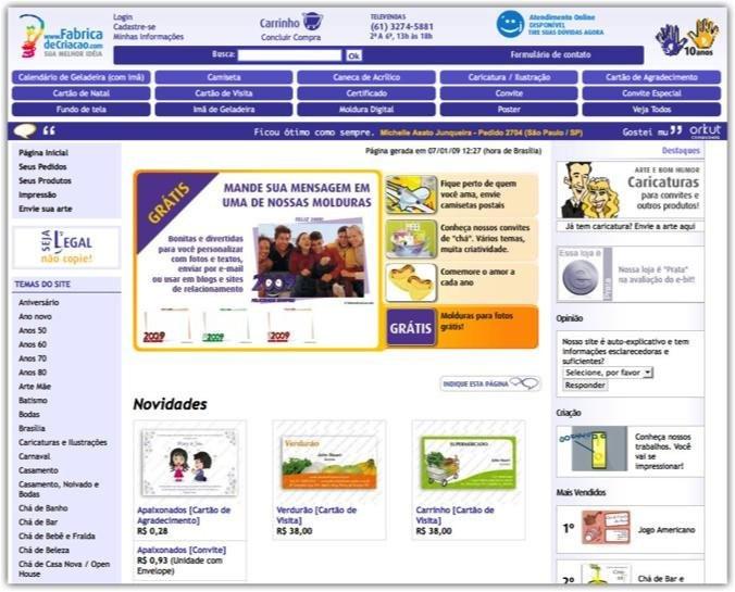Loja virtual - eCommerce de produtos personalizados