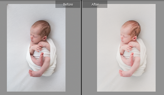 Newborn with natural light and low strobe