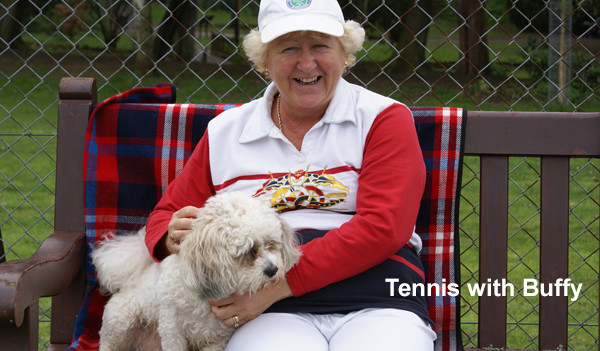 Taking Buffy to Tennis while House Sitting in Cheltenham