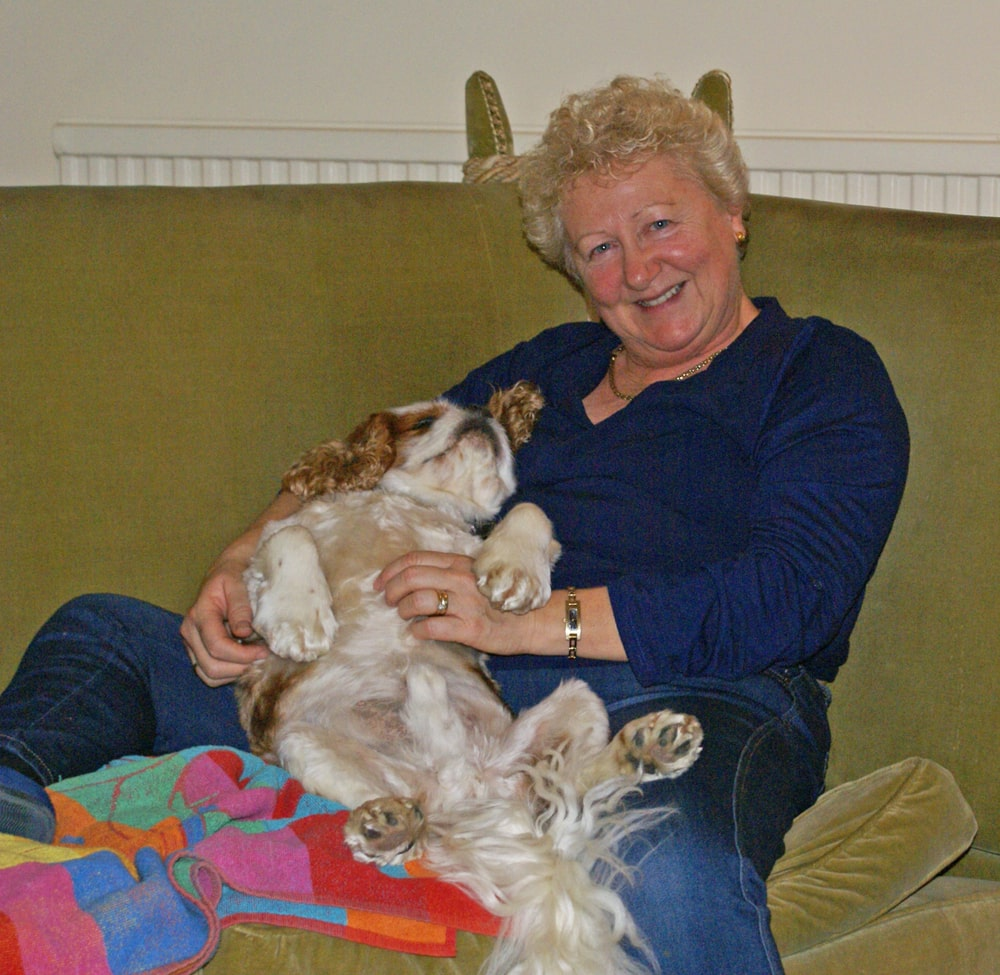 Alfie Chilling on Lynn's Lap-min