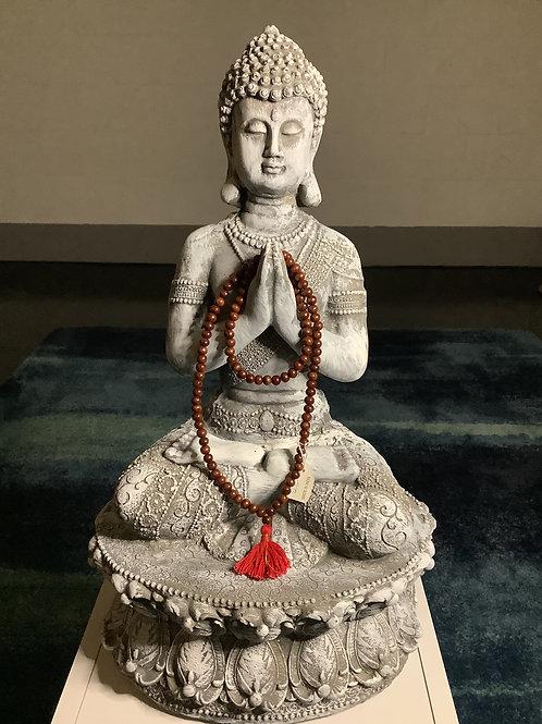 Buddhist Prayer Bead Mala Red Tassel Meditation Necklace