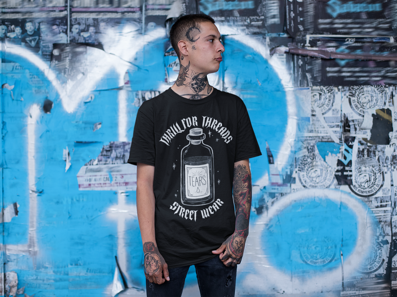 tee-mockup-of-a-gothic-man-with-neck-tat