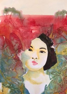 Chaya, watercolor on paper, Manon Jodoin