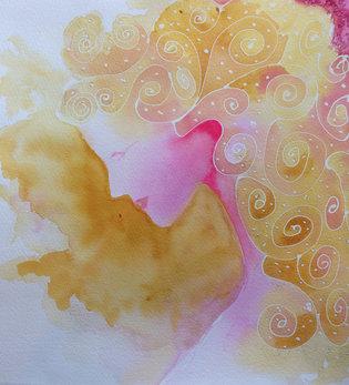 Manon Jodoin studio, Mermaid 1, watercol