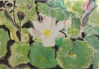 Lily pond, monotype, 16x12