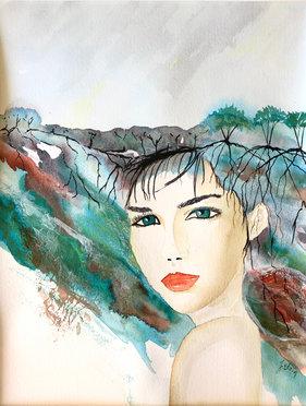 Abby, watercolor on paper, Manon Jodoin
