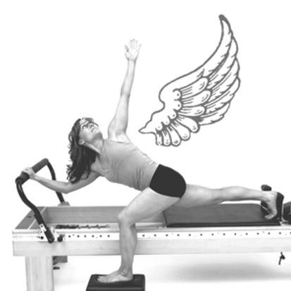 Standing Hip Stretch with twist on the Pilates Reformer