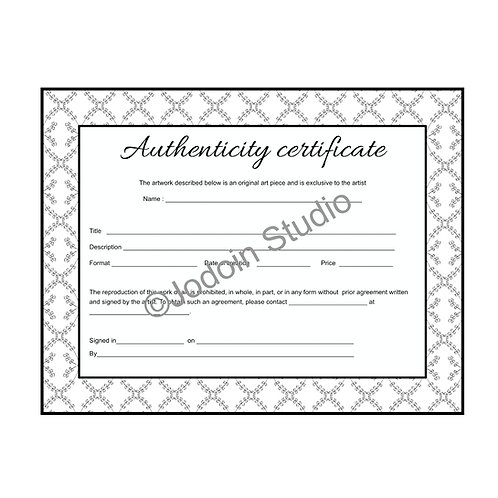 Certificate of authenticity for original artwork