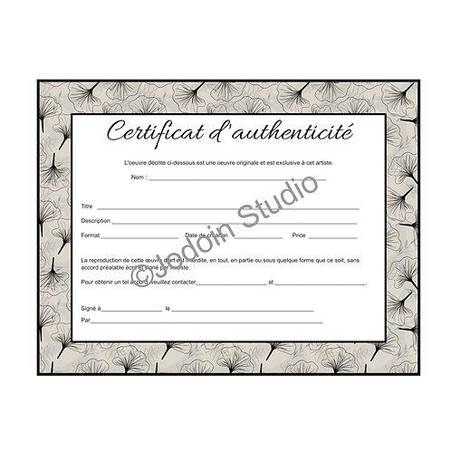 Copie de Certificat d'authenticité pour oeuvre originale2