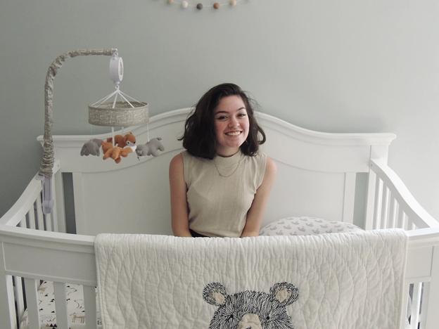 Lady in a crib