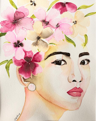 April, watermedia on paper, 14x11, Manon