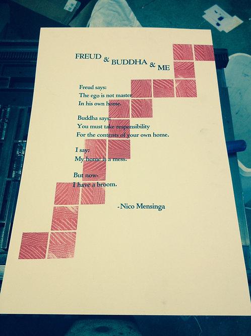 Nico Mensinga / Freud & Buddha & Me / Signed Poetry Broadside