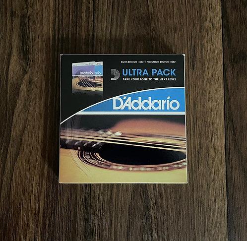 Ultra Pack com 2 encordoamentos D'addario Violão 011-052 Ez910 + Ej26
