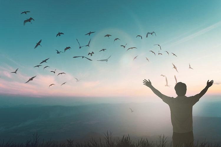 Happy travel man rise hand on morning vi
