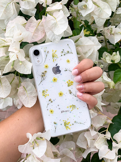 Yellow Pressed Flower iPhone Case