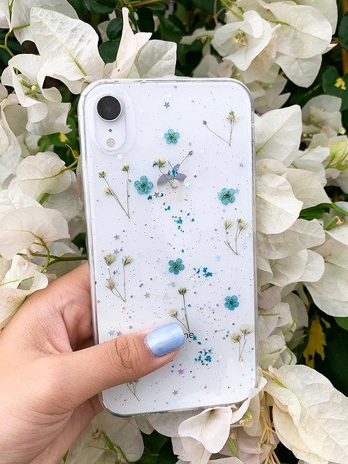 Blue Pressed Flower iPhone Case