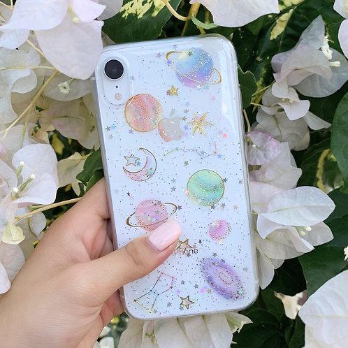 Planet Galaxy Pastel Glitter Iphone Case