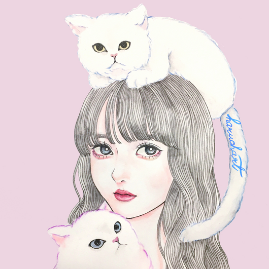 Cats and girl