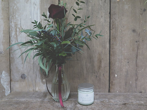 Quietude Candle and Red Rose Vase