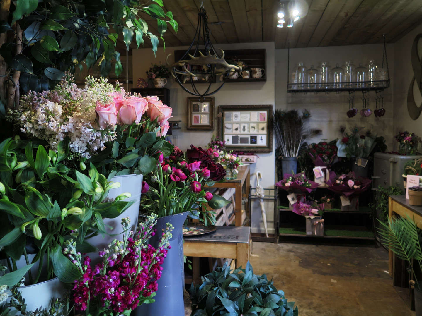 Fresh florals on a flower stand